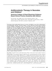 Antithrombotic Therapy in Neonates and Children