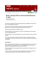 BBC Article on Girl Anti Social Brains