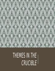 themes in the crucible The crucible is a study of the events which led to the 1692 salem witchcraft trials, and a parable for 1950s mccarthyism in the usa william bly.