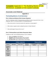 BIO 100 Week 3 – Individual - The Building Blocks of Life Worksheet