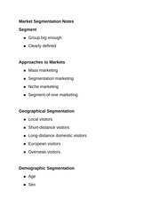Market Segmentation Notes