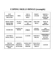 COPING SKILLS BINGO docx - COPING SKILLS BINGO(example EAT