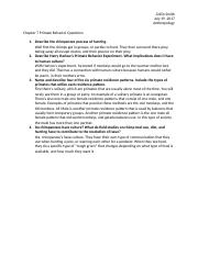 Chapter 7 Primate Behavior Questions - Collin Smith.docx