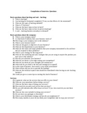 Compilation of Interview Questions