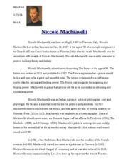 niccolo machiavelli research paper