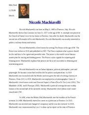 Machiavelli Reaction Paper Essay