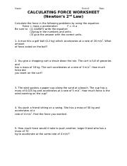 CALCULATING FORCE WORKSHEET.doc - Name Period Date CALCULATING FORCE ...