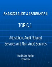 BKAA_3023_Topic_1_Attestation_and_Audit_Related_Services and Non Audit Services
