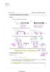 9.1 Linear Inequalities in 2 Variables
