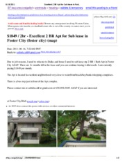 Excellent 2 BR Apt for Sub lease in Foster City