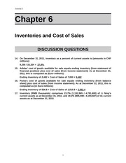 Tut 5 Inventories and Cost of Sales