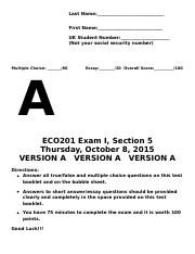 Exam 1 Section 5 Version A - Fall 2015.docx