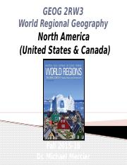 GEOG 2RW3 Lecture 07 World Regions I North America