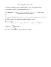 WRK- Empirical and Molecular Formula Worksheet - Empirical and ...