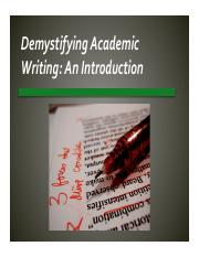 Intro to accademic writing