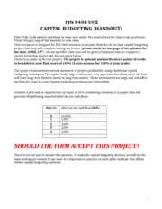 FIN 3403 U02 CAPITAL BUDGETING PROJECT