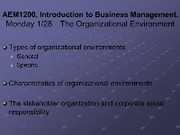 Lecture Monday 128 - Business Environment