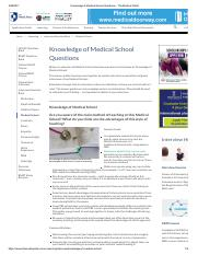 Knowledge of Medical School Questions - The Medical Portal