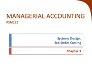 Chapter 3 - Job Order Costing