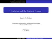 Psychology 2101_Lecture Notes on Statistics and the Scientfic Method