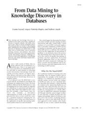 From Data Mining to Knowledge Discovery in Databases
