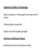 Subsistence Lecture wk8