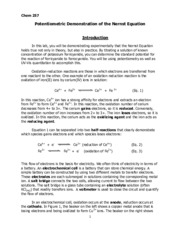 Potentiometric Demonstration of the Nernst Equation Lab Handout for 2015