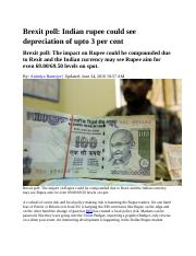 Rupee fall brexit