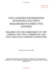 Commercial Security Requirements Specification (UIASRD) FINAL 18 Nov 09