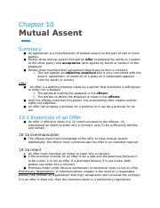 Chapter 10- Mutual Assent.docx