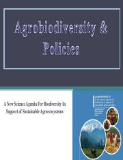 Lec 8 - Agrobiodiversity and policies