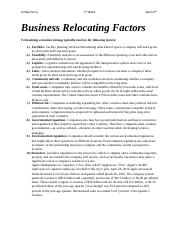 Business Relocating Factors
