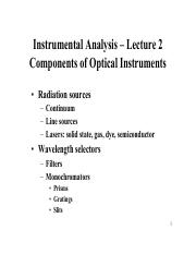 Lecture 2 - Components of Optical Instruments