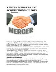 KENYAN MERGERS AND ACQUISITIONS OF.docx