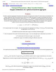 Transport phenomena mass transfer problem solution BSL _ Oxygen metabolism of a spherical bacterial