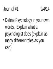 01 - What Do You Know and Goals of Psych