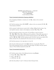 Practice problems of optimization