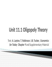 2015 Economics Lectures Semester 1 Unit 11.1 Oligopoly Theory.ppt