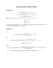 Stat 542 Probability Assignments Homework Solutions