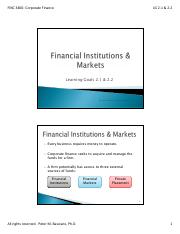LG 2-1 and 2-2-  Financial Institutions and Markets