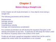 HR2 Chapter 2  Motion Along a Straight Line