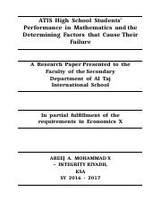 ATIS High School Students' Performance in Mathematics and the Determining Factors that Cause Their F