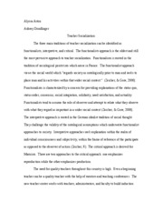 foundations teacher socialization paper
