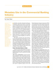 Metadata Use in the Commercial Banking Industry