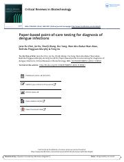 Paper based point of care testing for diagnosis of dengue infections.pdf