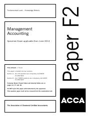 acca fa1 specimen j14 Specimen exam examiner's reports grade 12 sc exam papers - 2013 june [question papers]  acca fia ma2 notes , answers, syllabus, study guide and examiner s.