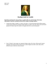 Candide Reading Guide 1075 F14