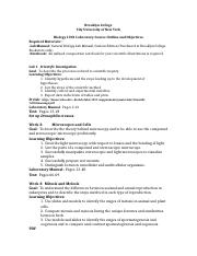Biology 1001 Laboratory Course Outline and Objectives_spring 2016