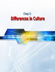 Chap03 - Differences in Culture