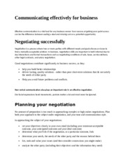 Communicating skills in business negotiation